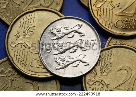 Coins of Estonia. Estonian national coat of arms depicted in the old Estonian 20 senti coin.   - stock photo