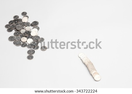 Coins of Israel. Menorah depicted in the Israeli ten agorot coins. - stock photo