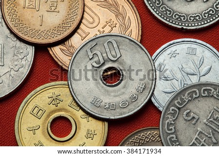 Coins of Japan. Japanese 50 yen coin. - stock photo
