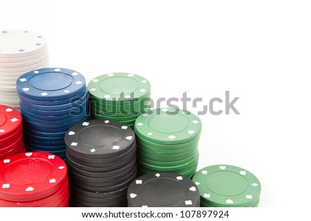 Coins of poker against a white background