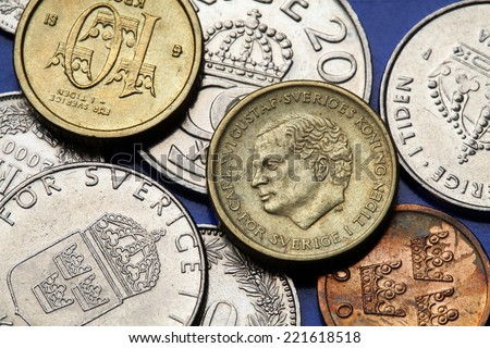 Coins of Sweden. King Carl XVI Gustaf of Sweden depicted in Swedish krona coins. - stock photo