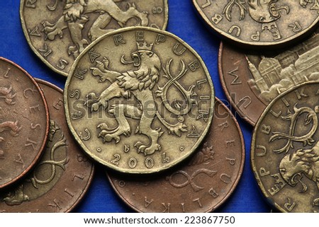 Coins of the Czech Republic. Bohemian heraldic lion depicted in Czech twenty korunas coins.  - stock photo