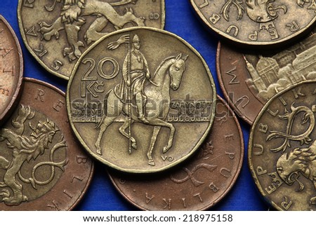 Coins of the Czech Republic. Monument to Saint Wenceslas in Wenceslas Square in Prague depicted in Czech twenty korunas coin. - stock photo