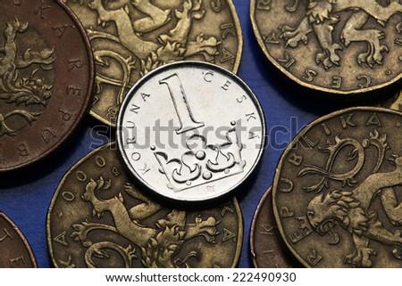 Coins of the Czech Republic. Saint Wenceslas crown depicted in Czech one koruna coin.  - stock photo