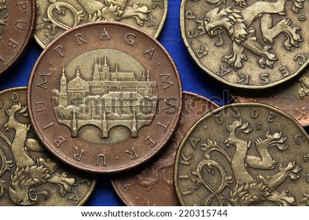 Coins of the Czech Republic. View of Prague with the Charles Bridge and Prague Castle depicted in Czech fifty korunas coin.  - stock photo