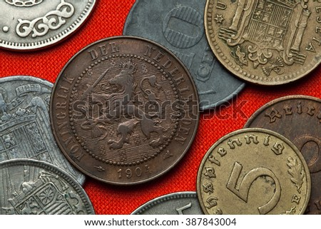 Coins of the Netherlands. Coat of arms of the Netherlands depicted in the Dutch two and a half cent coin (1904). - stock photo