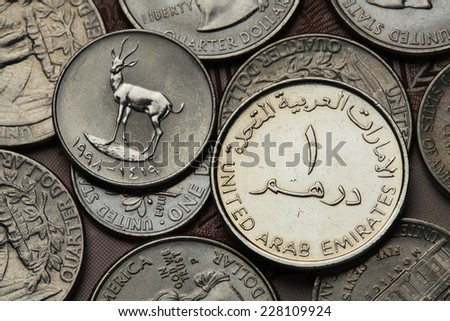 Coins of the United Arab Emirates. Sand Gazelle (Gazella subgutturosa marica) depicted in an UAE dirham coin.  - stock photo