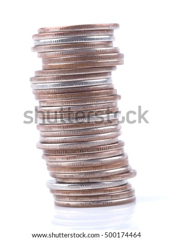 coins on a white background