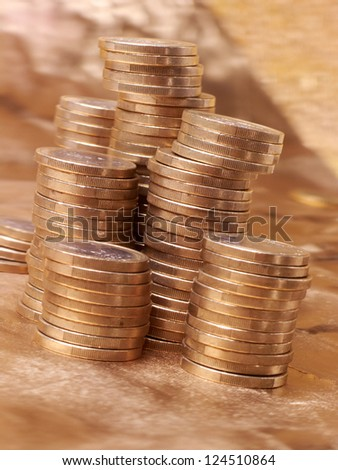 coins on the gold background
