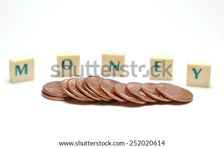 coins on the word MONEY