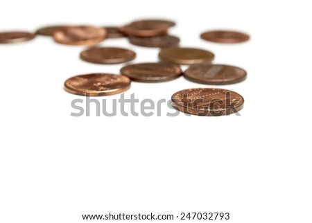 Coins on White Background, Money