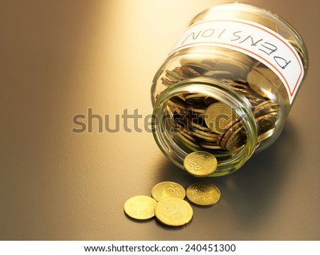 coins pouring out from the pension fund - stock photo