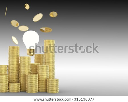 coins rain with stack of gold coins and idea lightbulb illustration