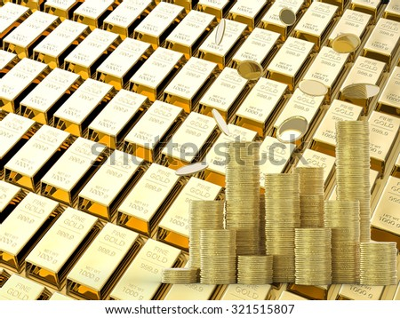 coins rain with stack of gold illustration