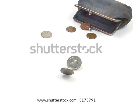 coins runnig from old suede purse on the white background - stock photo
