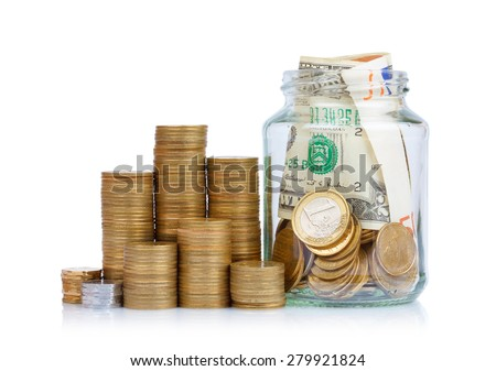 Coins stack and jar full of coins and paper currency isolated on white background - stock photo