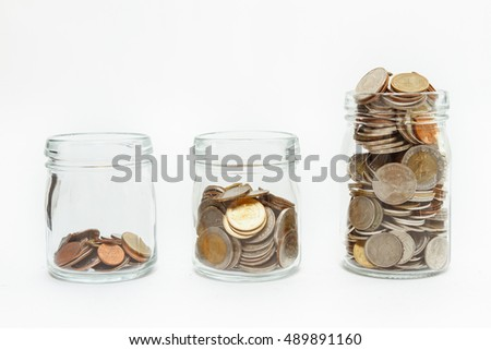 Coins stack finance concept,business background,money content and selective focus.