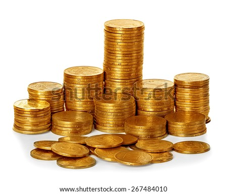 Coins stack isolated on white