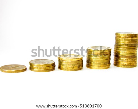 Coins stacked in bars.