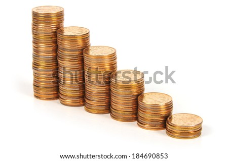 Coins stacked in the form of a graph of growth