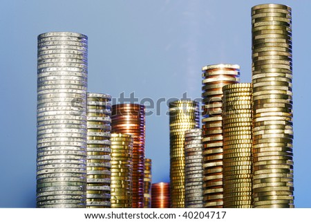 Coins Stacked like a City Skyline