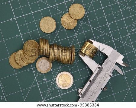 Coins value and measuring tools - stock photo