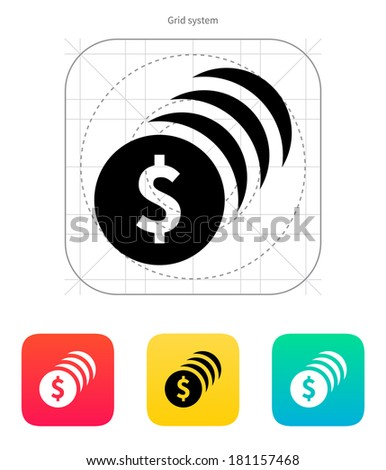 Coins with dollar sign icon. - stock photo