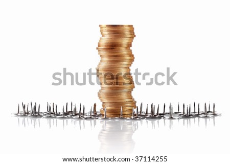 coins with thumb tacks, safe keeping concept - stock photo