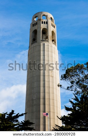 Coit Tower San Francisco California in a blue sky day - stock photo