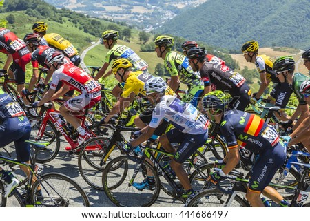 COL D'ASPIN,FRANCE - JUL 15: Froome, in Yellow Jersey, Quintana, in White Jersey and Nibali, climbing the road to Col D'Aspin in Pyrenees during the stage 11 of Le Tour de France on July 15, 2015.