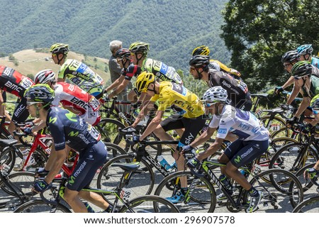 COL D'ASPIN,FRANCE - JUL 15: Froome (Yellow Jersey) and Quintana (White Jersey), climbing,the road to Col D'Aspin  in Pyrenees during the stage 11 of Le Tour de France on July 1, 2015. - stock photo