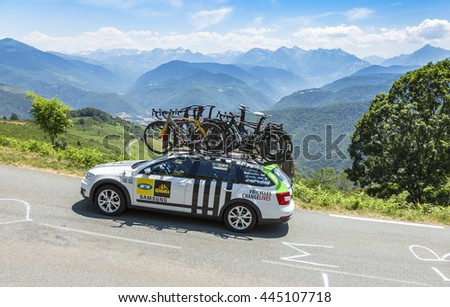 COL D'ASPIN,FRANCE - JUL 15: Technical car of MTN-Qhubeka Team, driving on the road to Col D'Aspin in Pyrenees during the stage 11 of Le Tour de France on July 15, 2015.