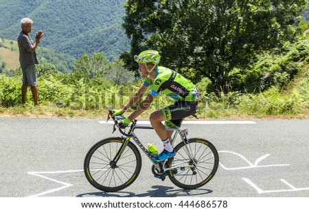 COL D'ASPIN,FRANCE - JUL 15: The Dutch cyclist Dylan van Baarle of Cannondale-Garmin Team, climbing the road to Col D'Aspin in Pyrenees during the stage 11 of Le Tour de France on July 15, 2015.