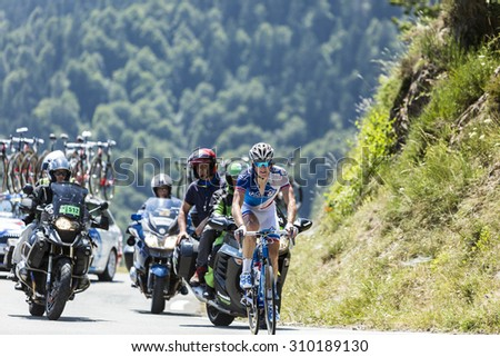 COL D'ASPIN,FRANCE - JUL 15:The French cyclist Arnaud Demare of FDJ Team, climbing the road to Col D'Aspin  in Pyrenees Mountains during the stage 11 of Le Tour de France on Juy 15, 2015. - stock photo