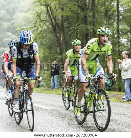 COL DU PLATZERWASEL, FRANCE - JUL 14: The cyclist Elia Viviani of Cannondale Team, climbing the mountain pass Platzerwasel in Vosges Mountains during the stage 10 of Le Tour de France on July 14 2014 - stock photo