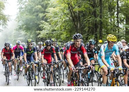COL DU PLATZERWASEL,FRANCE - JUL 14:The peloton  climbing the road to mountain pass Platzerwasel, Vosges Mountains,during Le Tour de France on July 14 2014.  - stock photo