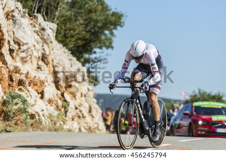 COL DU SERRE DE TOURRE, FRANCE - JUL 15: The Dutch cyclist Bauke Mollema of Trek-Segafredo Team riding during an individual time trial stage in Ardeche Gorges during Tour de France 2016.