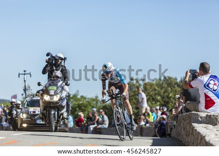 COL DU SERRE DE TOURRE, FRANCE - JUL 15:  The French cyclist Romain Bardet of AG2R La Mondiale Team riding during an individual time trial stage in Ardeche Gorges during Tour de France 2016.