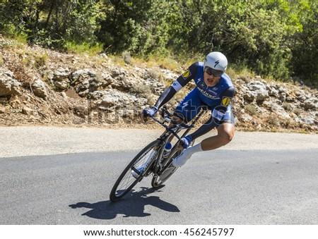 COL DU SERRE DE TOURRE, FRANCE - JUL 15: The German cyclist Marcel Kittel of Etixx-Quick Step Team, riding during an individual time trial stage in Ardeche Gorges during Tour de France 2016.