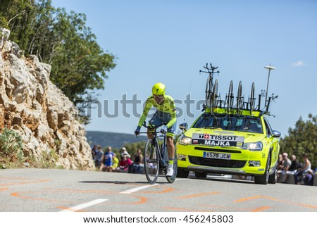 COL DU SERRE DE TOURRE, FRANCE - JUL 15: The Polish cyclist Rafal Majka of Tinkoff Team,  riding during an individual time trial stage in Ardeche Gorges during Tour de France 2016.