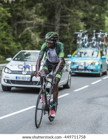COL DU TOURMALET, FRANCE - JUL 24: The French cyclist Kevin Reza of Team Europcar climbing the road to Col de Tourmalet in the stage 18 of Le Tour de France on July 24, 2014.