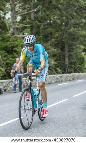 COL DU TOURMALET, FRANCE - JUL 24: The Italian cyclist Alessandro Vanotti of Astana Team climbing the road to Col de Tourmalet in the stage 18 of Le Tour de France on July 24, 2014.