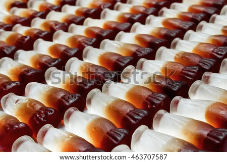 Cola bottle background arranged in rows