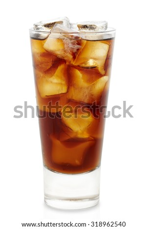 Cola cocktail studio shooting isolation on white background with pen clipping path included