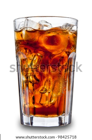 Cola drink in glass, isolated on white background - stock photo