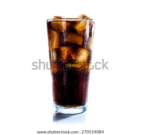 Cola drink  with ice cube on white background - stock photo