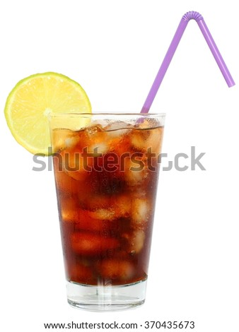 Cola drink with ice cubes and sliced lime in a highball glass on a white background.
