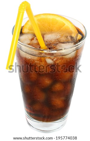 Cola drink with ice cubes and sliced orange in a highball glass on a white background.