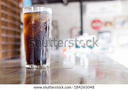 Cola drinks , Refreshing drinks , Summer drinks , thirst , Glasses of water vapor ,hot season - stock photo