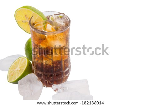 Cola drinks with ice cubes and lime over white background